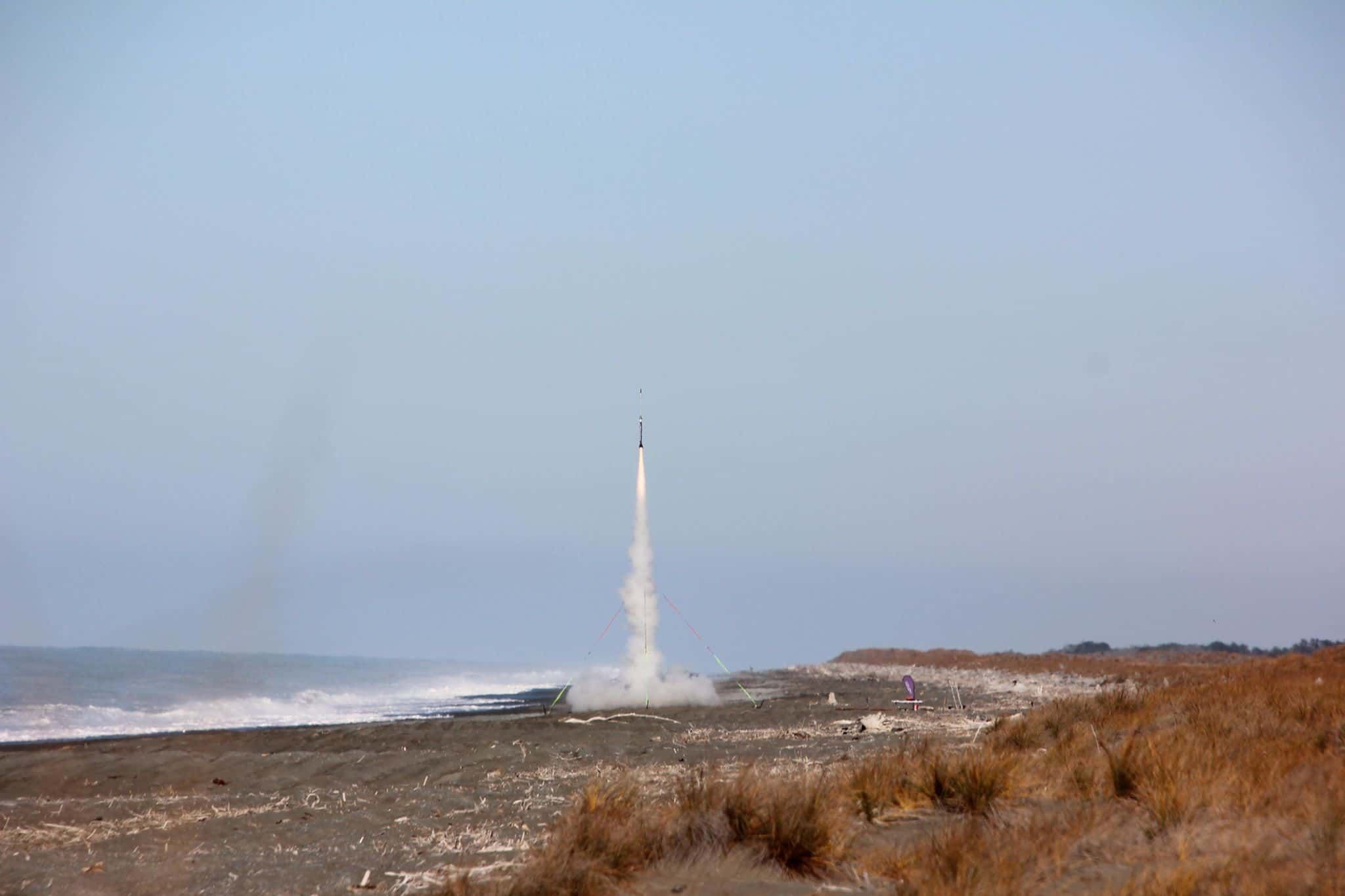 UCA rocket launch from a beach